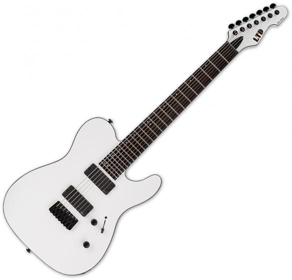 ESP LTD TE-417 7-String Electric Guitar Snow White Satin, LTE417SWS