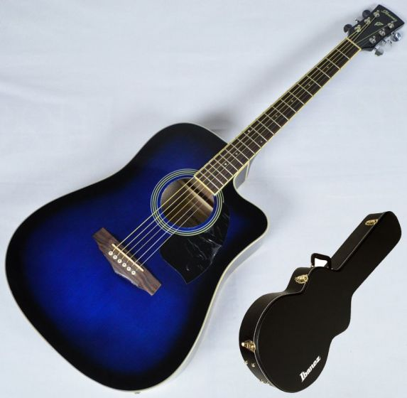 Ibanez PF15ECEWC-TBS PF Series Acoustic Guitar in Transparent Blue Sunburst High Gloss Finish SA150300756, PF15ECEWCTBS.B 0756