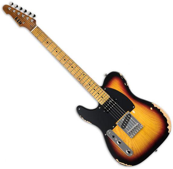 ESP LTD TE-254 Left-Handed Electric Guitar Distressed 3-Tone Burst[, LTE254D3TBLH]