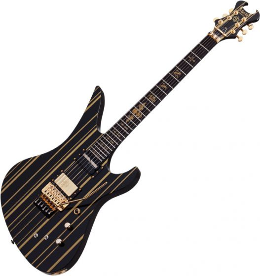 Schecter Signature Synsyter Custom-S Electric Guitar Gloss Black w/ Gold Stripes, SCHECTER1742