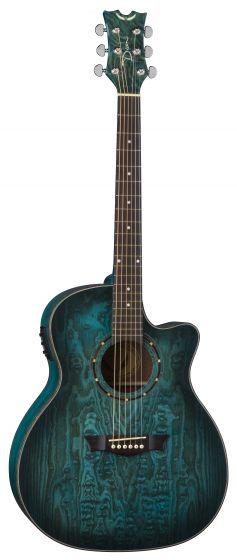 Dean Exotica Quilt Ash Acoustic Electric Guitar Trans Blue Satin EQA TBLS, EQA TBLS