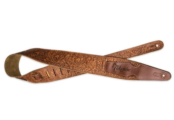 Takamine Tooled Leather Guitar Strap, Tooled Leather Strap
