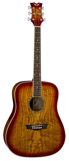 Dean AXS Dreadnought Acoustic Guitar Quilt Ash Tobacco Sunburst AX DQA TSB, AX DQA TSB