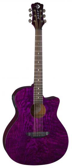 Luna Gypsy Quilt Ash Acoustic Electric Trans Purple GYP E QA TPP, GYP E QA TPP