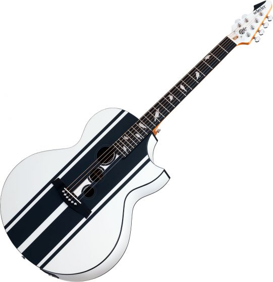 Schecter DJ Ashba Signature Acoustic Electric Guitar Satin White, SCHECTER3718