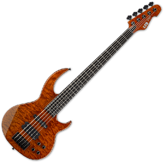 ESP LTD BB-1005 QM Bunny Brunel Electric Bass in Burnt Orange, BB-1005QM BOR