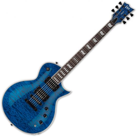 ESP LTD EC-1000 Piezo Quilted Maple Electric Guitar See Thru Blue, LEC1000PIEZOQMSTB