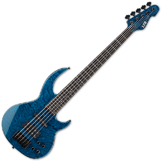 ESP LTD BB-1005 QM Bunny Brunel Electric Bass in Black Aqua[, BB-1005QM BLKAQ]