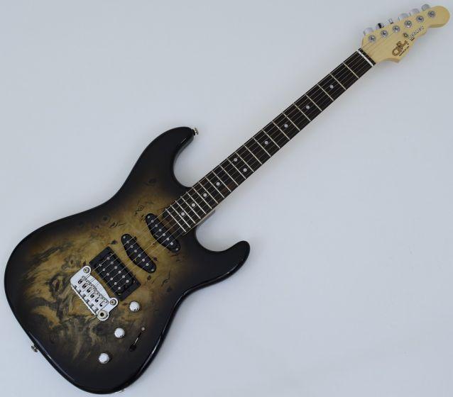 G&L USA Legacy HSS RMC Buckeye Burl Electric Guitar Blackburst, USA LGCYRMC-BLKB 9649