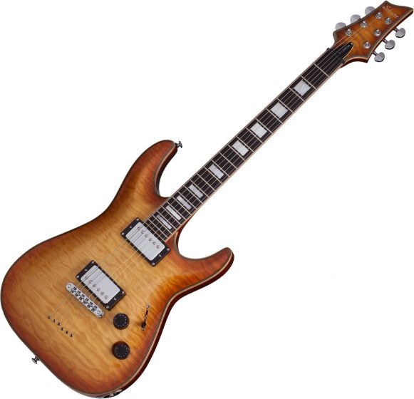 Schecter C-1 Custom Electric Guitar Natural Vintage Burst, 653