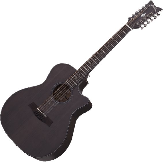Schecter Orleans Studio-12 Acoustic Guitar in Satin See Thru Black Finish, 3714