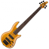 ESP LTD H-1005SE Burled Maple 5 String Electric Bass Honey Natural