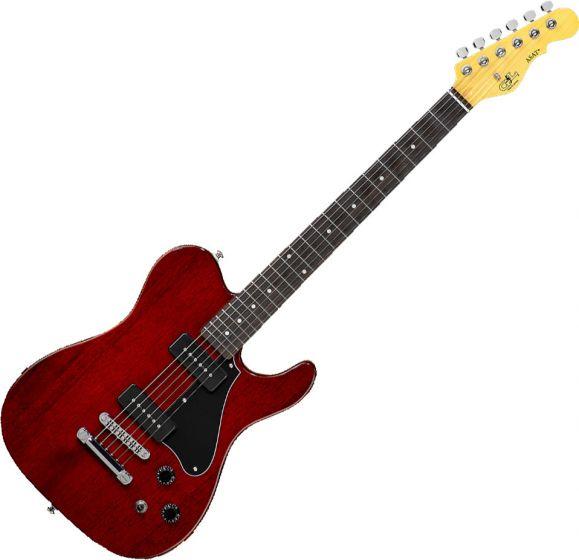 G&L Tribute ASAT Junior II Electric Guitar Trans Red, TI-AJ2-132R42R23