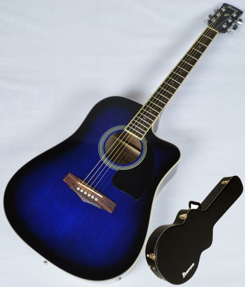 Ibanez PF15ECEWC-TBS PF Series Acoustic Guitar in Transparent Blue Sunburst High Gloss Finish SA150300754[, PF15ECEWCTBS.B 0754]