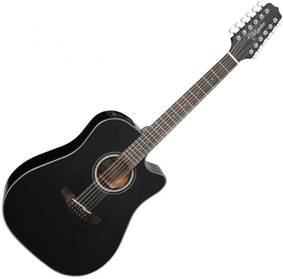 Takamine GD30CE-12BLK Dreadnought Acoustic Electric Guitar Gloss Black, TAKGD30CE12BLK