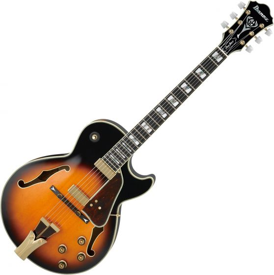 Ibanez Signature George Benson GB10 Hollow Body Electric Guitar in Brown Sunburst with Case, GB10BS