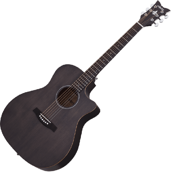 Schecter Deluxe Acoustic Guitar in Satin See Thru Black Finish, 3716