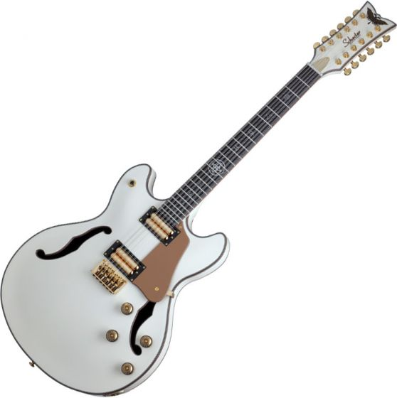 Schecter Wanye Hussey Corsair-12 Semi-Hollow Electric Guitar Ivory, 267