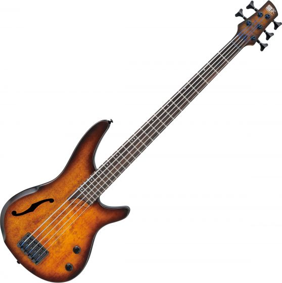 Ibanez SR Bass Workshop SRH505 5 String Semi-Hollow Electric Bass Dragon Eye Burst Flat, SRH505DEF
