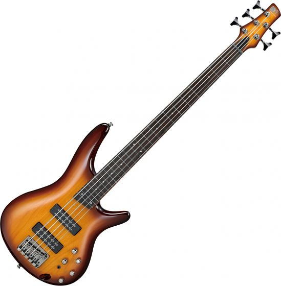 Ibanez SR Standard SR375EF Fretless 5 String Electric Bass Brown Burst, SR375EFBBT