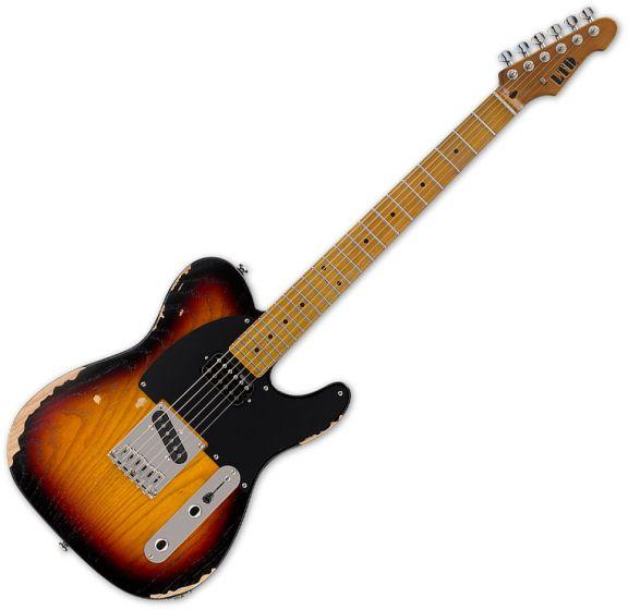 ESP LTD TE-254 Electric Guitar Distressed 3-Tone Sunburst, LTE254D3TB