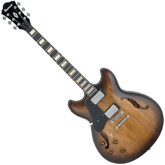 Ibanez Artcore Vintage ASV10AL Semi-Hollow Left-Handed Electric Guitar in Tobacco Burst Low Gloss, ASV10ALTCL