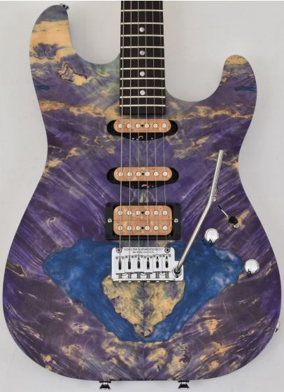 Schecter CET Custom USA Masterwork Guitar with Buckeye Burl Stabilized Top, MW CET PURPLE STABILIZED