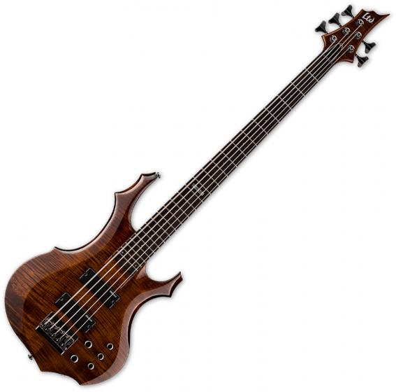 ESP LTD F-155DX Flamed Maple Top 5-String Electric Bass Walnut Brown[, LF155DXWBR]