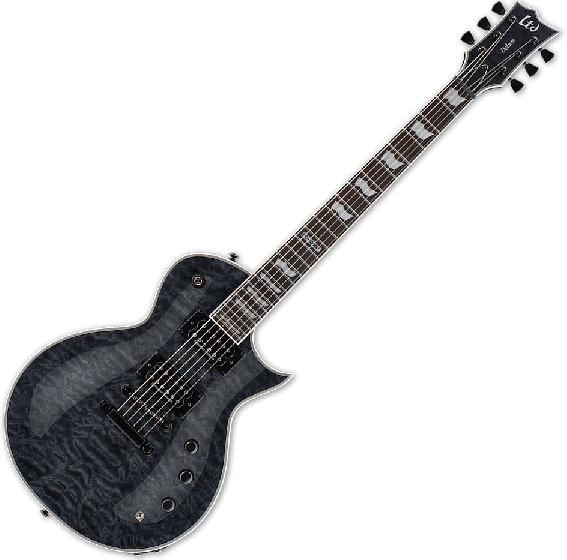 ESP LTD EC-1000 Piezo Quilted Maple Electric Guitar See Thru Black, LEC1000PIEZOQMSTBLK