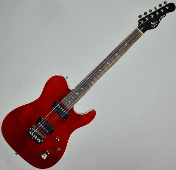 G&L Tribute ASAT Deluxe Carved Top Demo Electric Guitar Transparent Red, TI-ASTD-TR.B 1283