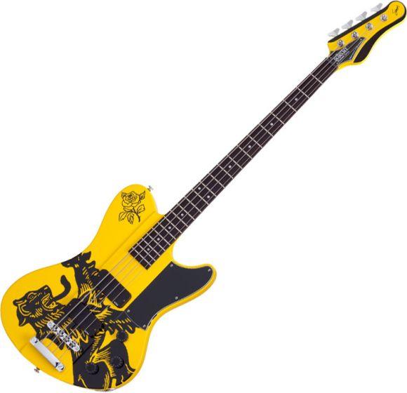 Schecter Simon Gallup Signature Ultra Spitfire Electric Bass Gloss Yellow, SCHECTER2264
