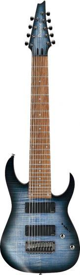 """Ibanez RGIR9FME FDF RG Iron Label 9 String 28"""" scale Faded Denim Burst Flat Electric Guitar, RGIR9FMEFDF"""