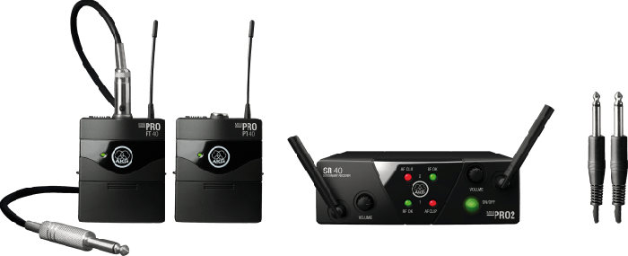 AKG WMS40 Mini Dual Instrumental Set Wireless Microphone System - Band C & D, 3351H00060