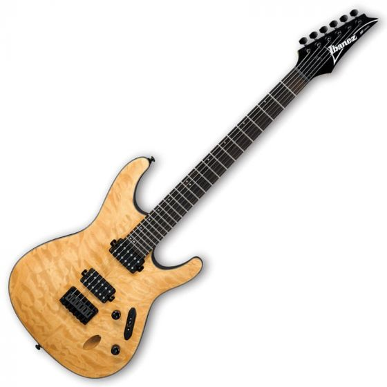Ibanez S621QM-VNF S Series Electric Guitar in Vintage Natural Flat Finish, S621QMVNF