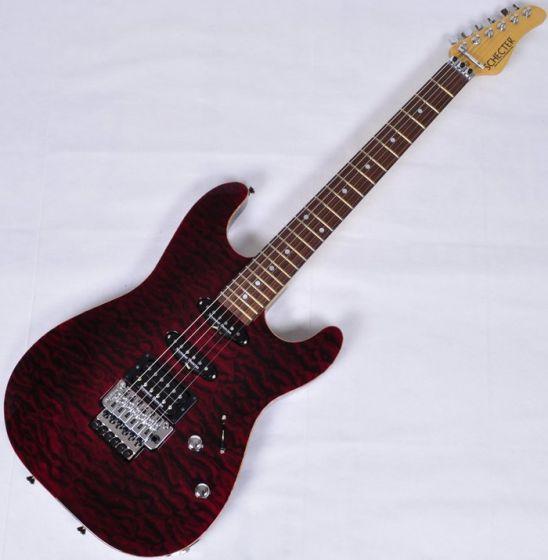 Schecter Contoured Exotic Top USA Custom Shop Electric Guitar Black Cherry, CETQMBCH