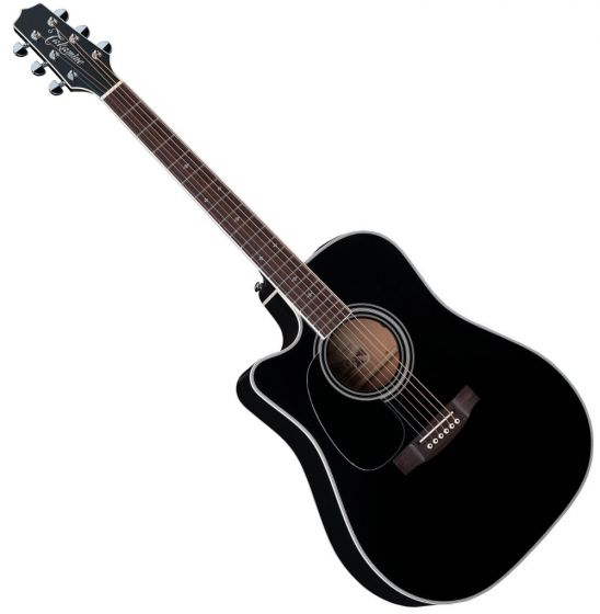 Takamine EF341SC Left Handed Acoustic Guitar in Gloss Black Finish, TAKEF341SCLH