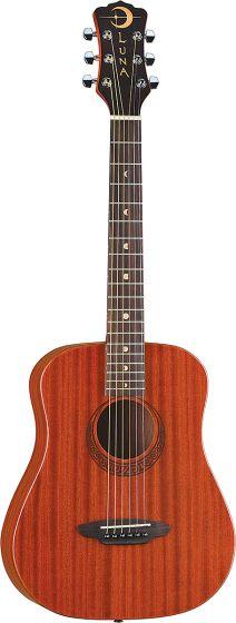 Luna Safari Muse Travel Guitar Acoustic Guitar Mahogany w/Bag SAF MUS MAH, SAF MUS MAH