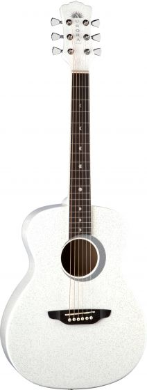 Luna Aurora Borealis 3/4 Acoustic Guitar White AR BOR WHT, AR BOR WHT