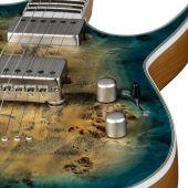 Dean Exile Select Burled Poplar Top Guitar in Satin Turquoise Burst