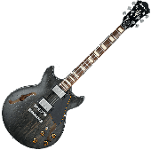 Ibanez Artcore Vintage AMV10A Semi-Hollow Electric Guitar in Transparent Black Low Gloss