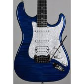 G&L USA Legacy HSS Flame Maple Top Electric Guitar Clear Blue