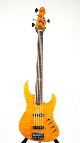 ESP E-II J-5 QM Quilted Maple Amber Bass Guitar[, EIIJ5QMAMB]