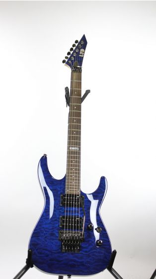 ESP LTD MH-100QM Black Aqua Sample/Prototype Electric Guitar, LMH100QMBLAQ