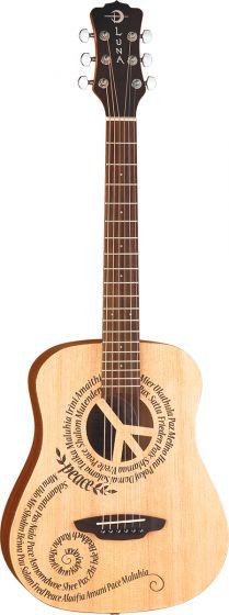 Luna Safari Peace Travel Guitar w/Gigbag SAF PCE, SAF PCE