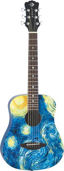 Luna Safari Starry Night Travel Guitar w/Bag SAF STR, SAF STR