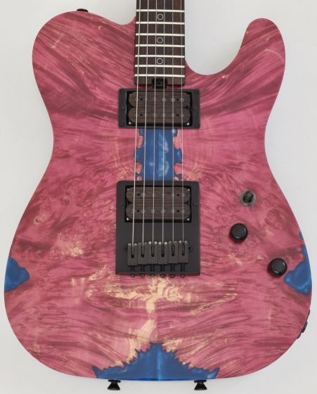 Schecter PT Masterwork Custom Guitar with Buckeye Burl Stabilized top, MW PT RED STABILIZED