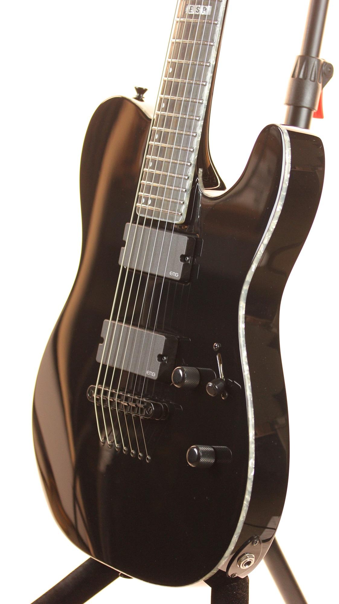 esp e ii te 7 tele black 7 string electric guitar w case 6. Black Bedroom Furniture Sets. Home Design Ideas