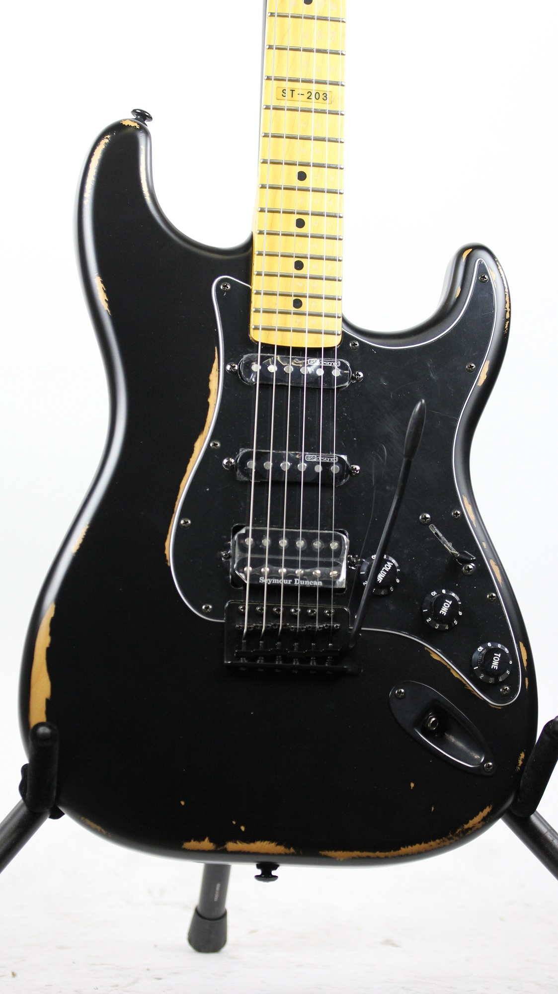 esp ltd st 203 distressed black hss sample prototype electric guitar 6. Black Bedroom Furniture Sets. Home Design Ideas