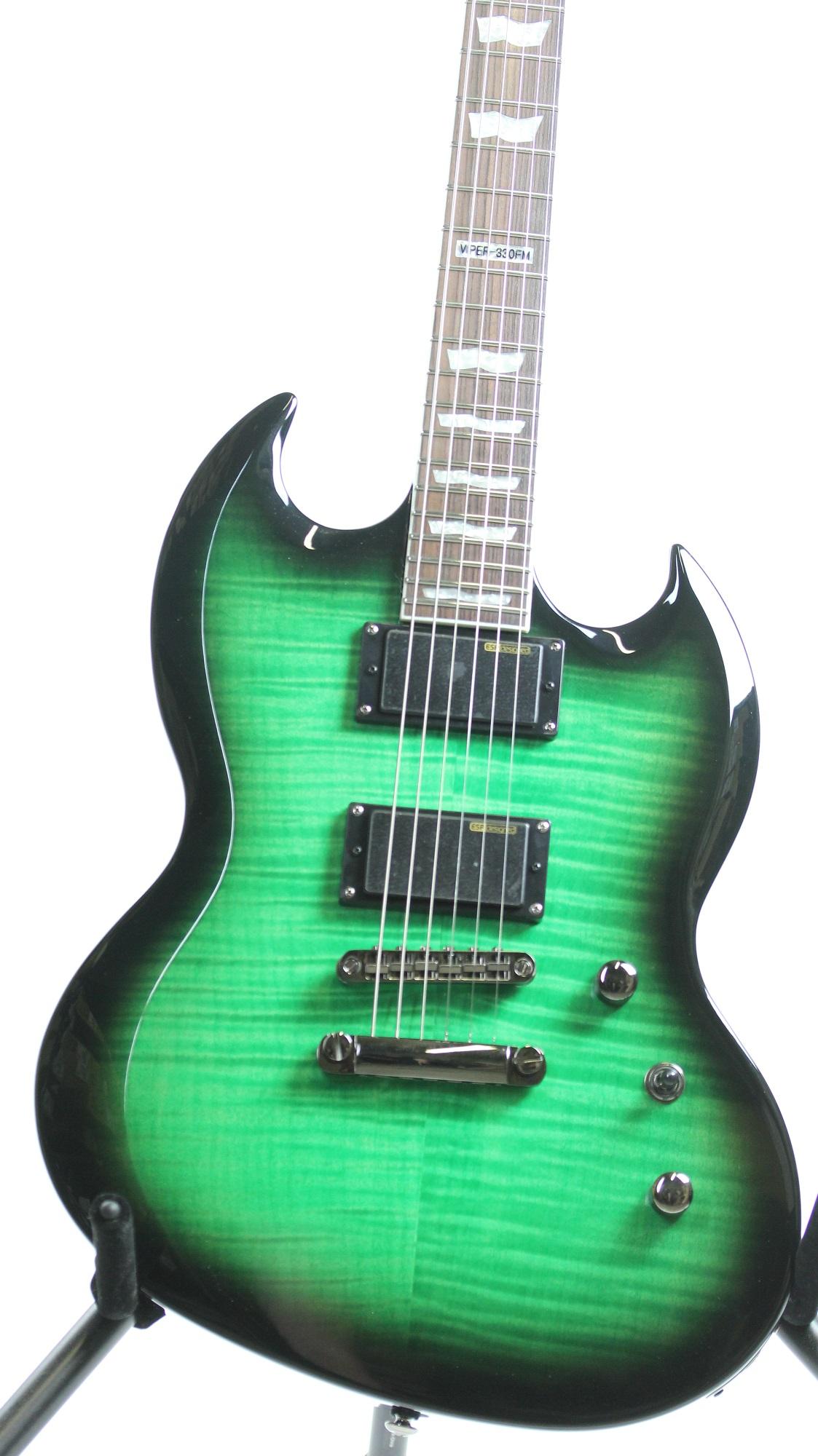 Esp Ltd Viper Fm See Thru Green Sunburst Sampleprototype Electric Guitar on Seymour Duncan Guitar Pickups