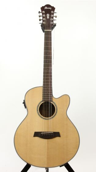 Ibanez AEL108TD NT 2015 Natural High Gloss Eight String Acoustic Electric Guitar